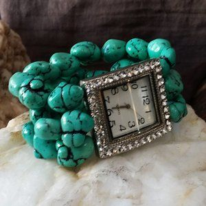 Vintage Watches Turquoise Stretchy Bracelet